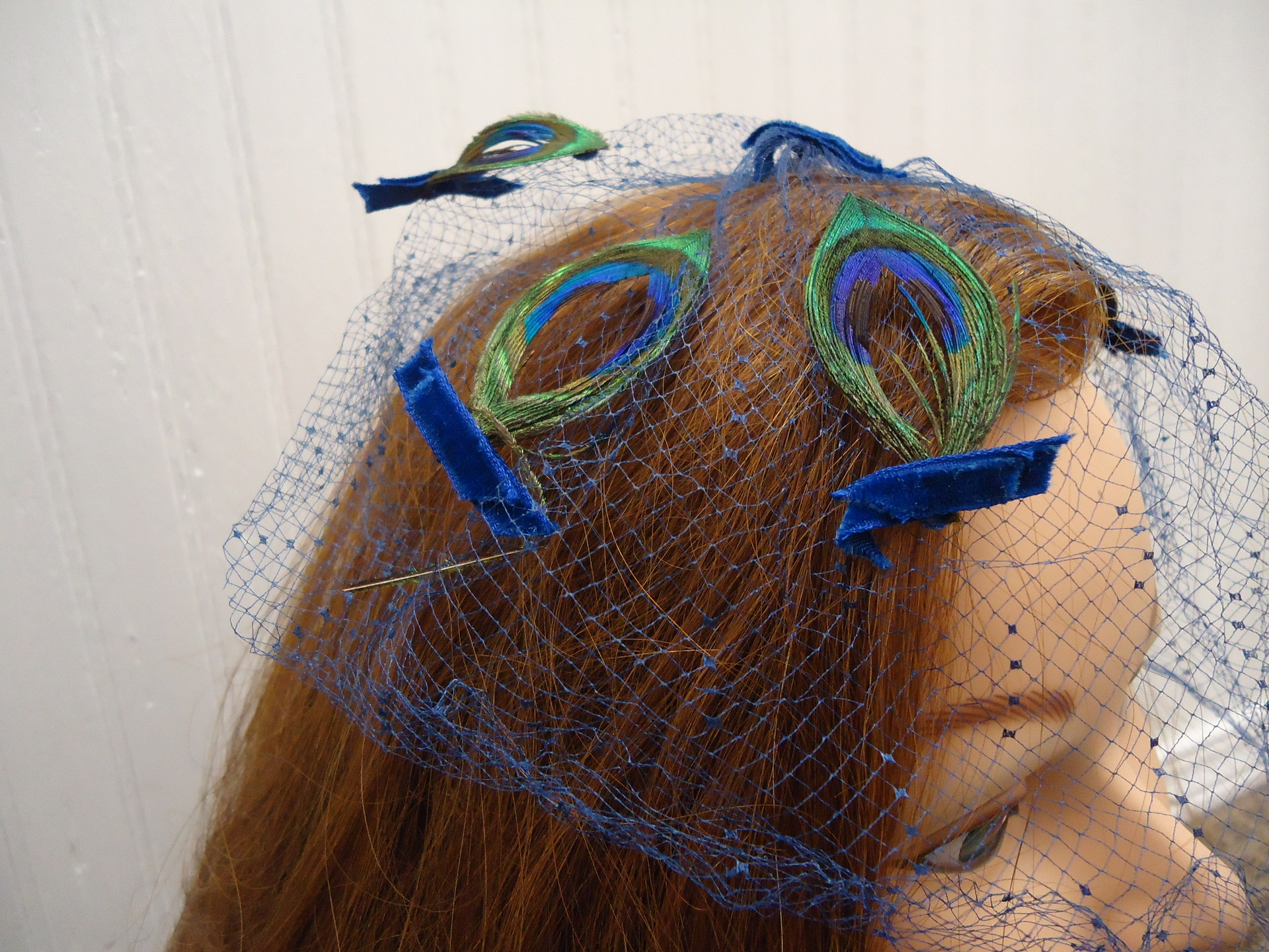 Vintage Blue Netting Fascinator With Pea And Velvet Ribbon Accent